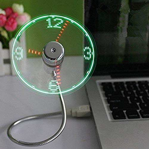 ONXE USB LED Clock Fan with Real Time Display Function,USB Clock Fans,Silver,1 Year Warranty (Clock)