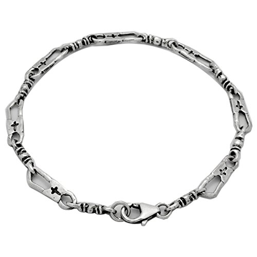 925 Sterling Silver Oxidize Antique Finish Fisherman Link Bracelet Necklace (7)