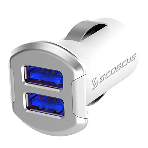 SCOSCHE USBC242MSR Revolt Compact Dual Port USB High Speed Universal Car Charger with Illuminated LED Backlight - 12 Watts/2.4 Amps Per Port (24W/4.8A Total Output) - White/Silver ()