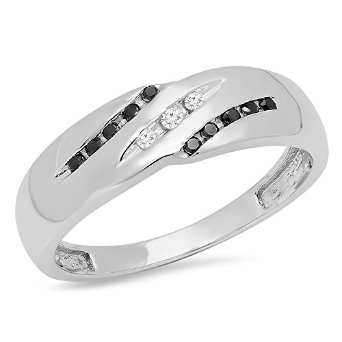 Dazzlingrock Collection 0.20 Carat (ctw) 10K Round White & Black Diamond Men's Wedding Band 1/5 CT, White Gold, Size 10