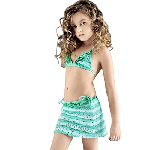 Balneaire Kids Girls Three Pieces Bikini Set With Mini