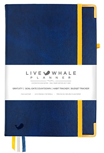 "Live Whale Planner - Daily Diary Edition for Productivity and Mental Health - 4-6 Months Non Dated - 8.3 x 5.5"" Leather Bound Personal Journal Organizer"