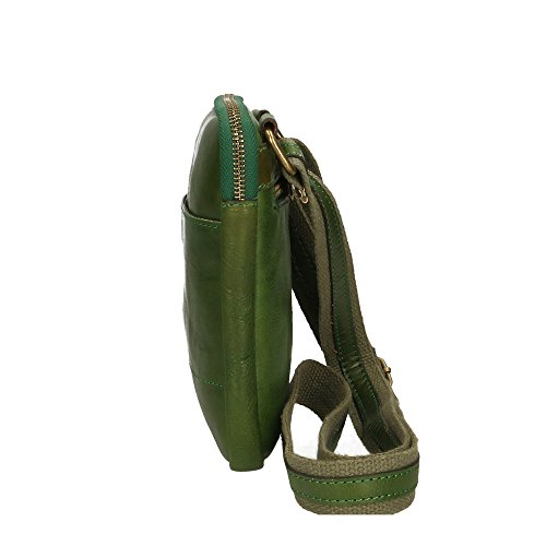 Verde Italy 16x18x4 Hombro de Aren cuero del bolsa Made auténtico Cm hombre in Tnqx7Zw1