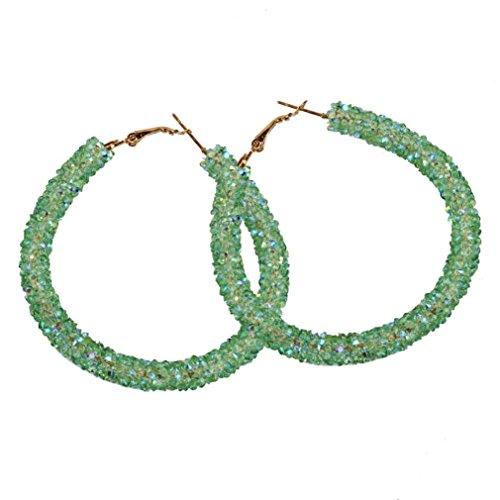 Hoop Earrings, Women 1 Pair Fashion Big Circular Shiny Sequins Charming Earrings Jewelry 5 Colors (Green)