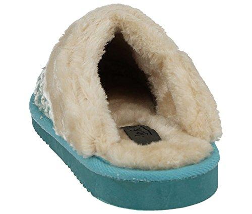 Knit 8 Femmes Wicklow 3 Bord Chaussons Les Sur Pointure Fausse Teal Mule Chaussures Fourrure Tartan Feuillet Z1wrOZ