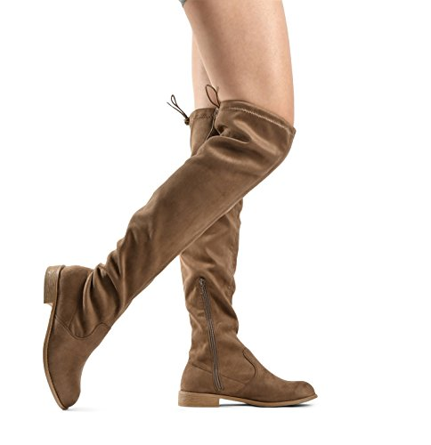 LUSTHAVE Almond Jessie Knee High Taupe by Boots Tie Heel Flat Low The Tall Toe 06 Women's Over Drawstring rWqnOr1