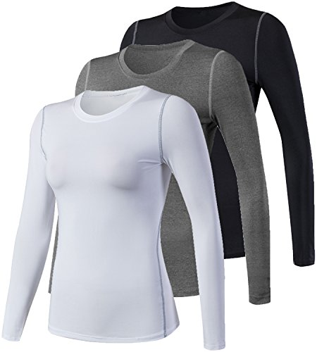 Lavento Women's Compression Shirt Sport Performance Crewneck Long-sleeve T Shirt