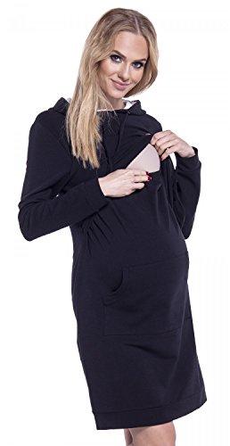 Happy Mama. Mujer Vestido Sudadera en Capas Capucha Premamá de Lactancia. 208p Negro
