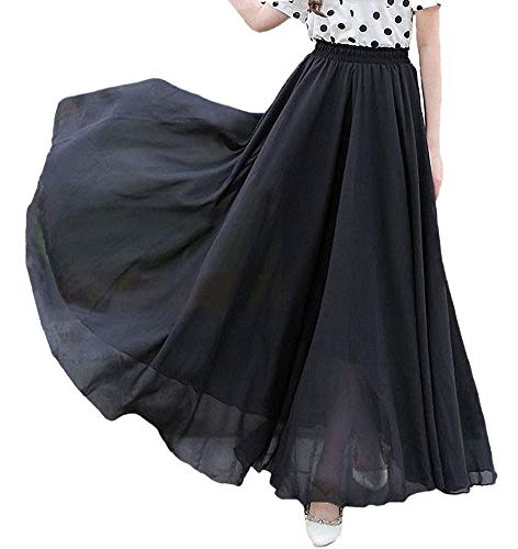 (Afibi Womens Chiffon Retro Long Maxi Skirt Vintage Dress (Medium, Black))