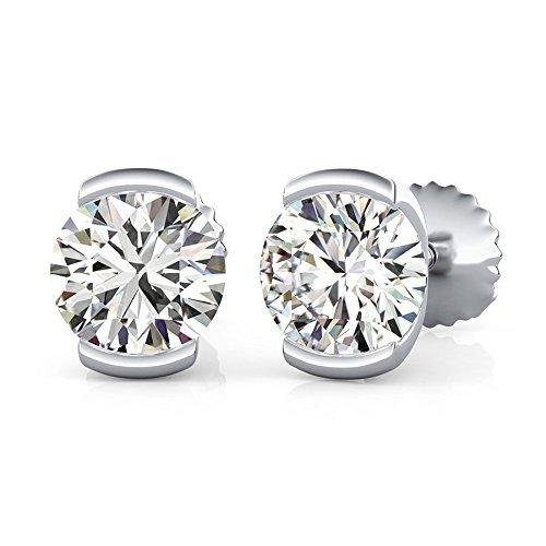 14K White Gold Round Cut Forever One Moissanite Semi Bezel Set Halo Earrings, Bridal, Wedding, Anniversary, Solitaire, Gift 1.00ctw
