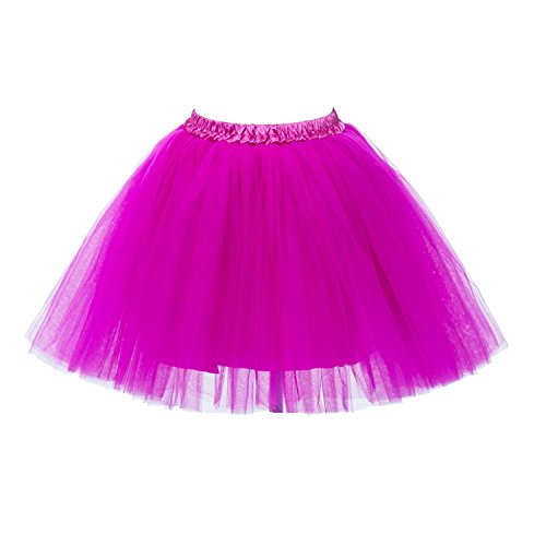 Red Corset Tutu Adult Costumes Dress (PerfectDay Women's Mini Tutu Ballet Multi-layer Ruffle Frilly Petticoat Skirt Fuschia)