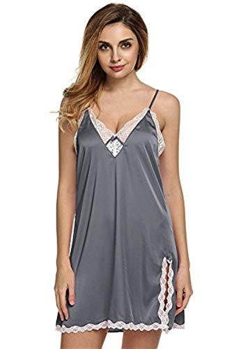Vestido Satén Gris Camisa Camisón Noche Homewear Mujer Tallas Calentamiento Seda Pijamas Ropa Interior Ovejas De Dormir UHUwqSB