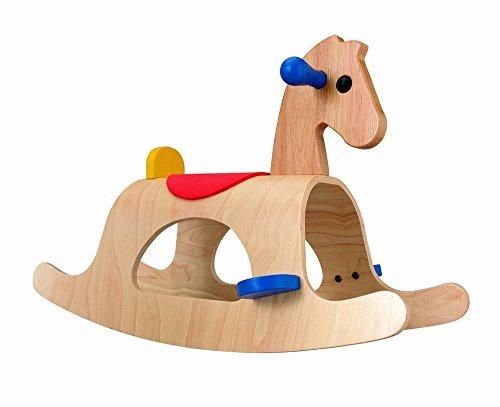 (Natural Wood Rocking Horse)