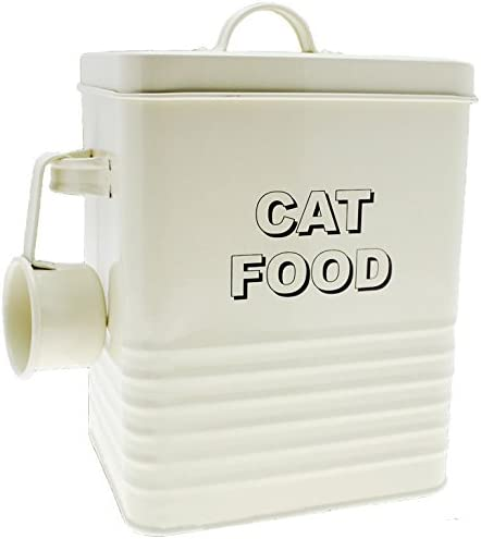 ENAMEL HOME SWEET CREAM STORAGE TIN BOX FOOD KITCHEN RETRO CONTAINER JAR LID NEW (CAT FOOD TIN WITH SCOOP)