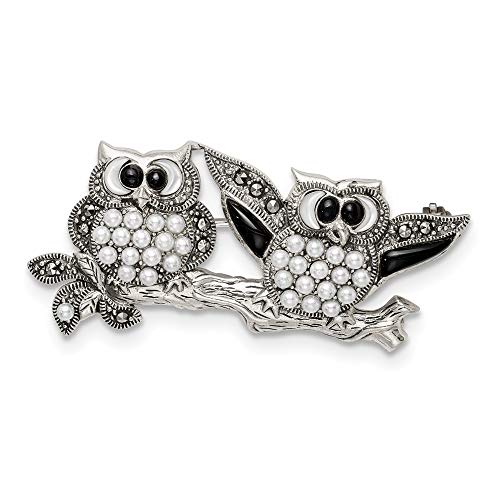 Brooch Sterling Silver Agate - 925 Sterling Silver Marcasite with Black Agate, MOP & Freshwater Cultured Pearl Pin