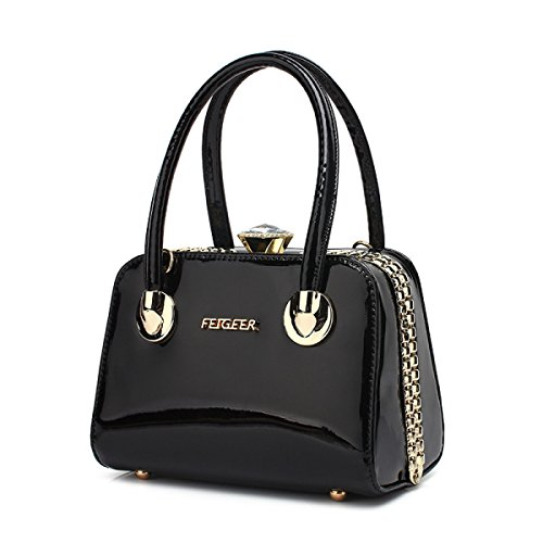 Amazon.com | High-end Stylish Hand Bags Patent Leather Shiny ...