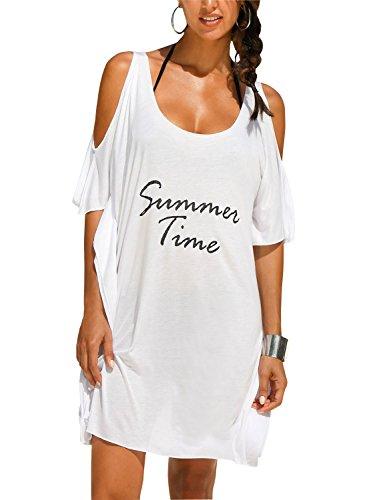 Rainlover Womens Letters Print Baggy Swimwear Bikini Cover-ups beach Dress (Z-White)