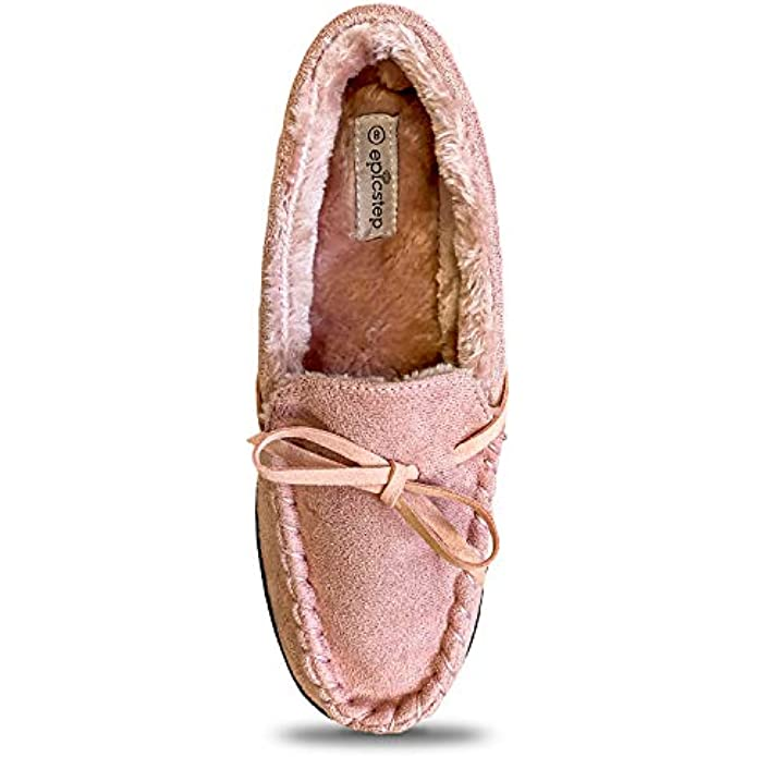 Women Moccasin Slippers, Warm Comfort Cozy Soft House Shoes with Fuzzy Plush Fur Lining, Casual Slip On Shoe Slipper with Indoor Outdoor Resistant Anti-Skid Rubber Sole