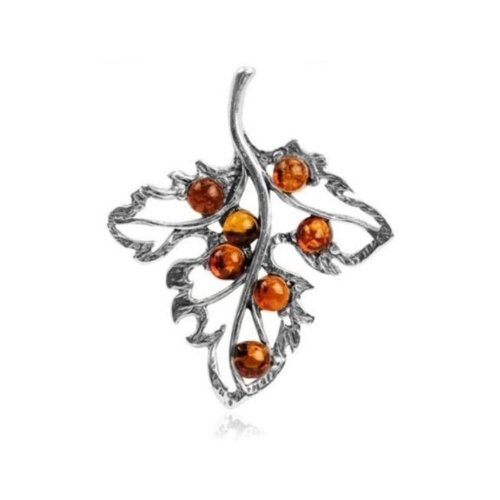 Honey Amber Sterling Silver Leaf ()