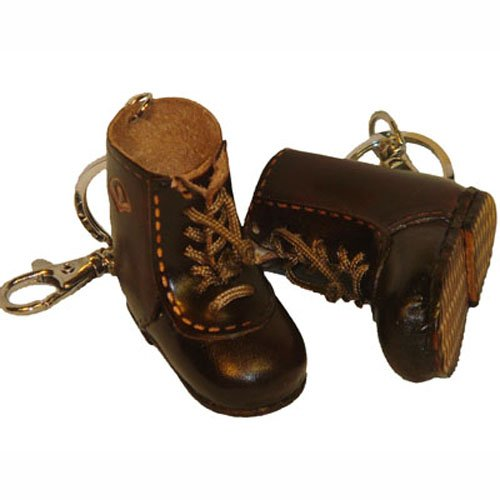 Real Leather Key Chain/charm, a Pair of Man Western Boot Shape, Darkbrown.