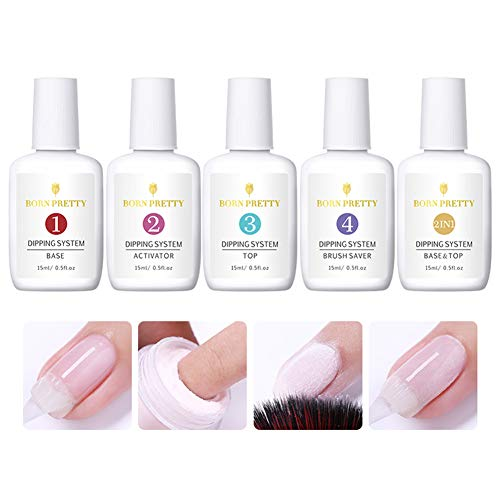 Nail Art System (BORN PRETTY 15ml Dipping Nail Powder System Liquid Clear Nail Art Tools Without UV Lamp Needed)