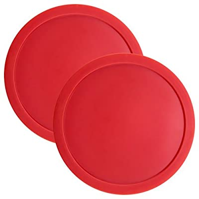 Brybelly Set of Two Large Red 3 1/4 Inch Air Hockey Pucks for Full Size Air Hockey Tables : Sports & Outdoors