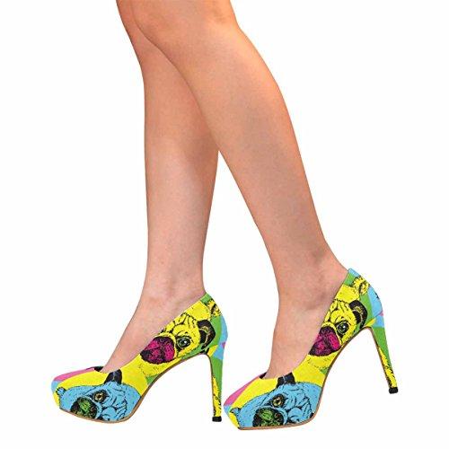 Piattaforma Di Tacco Alto Di Moda Di Womens Classic Fashion Pumps Carino Cuccioli In Posa Di Seduta