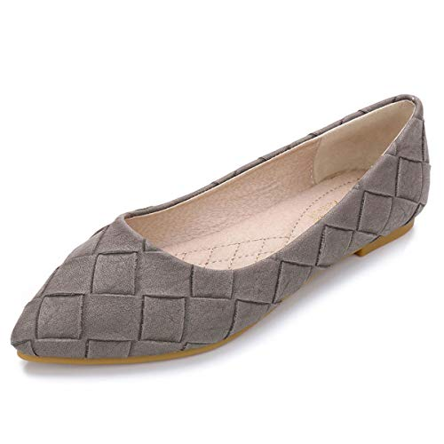 (Orangetime Womens Classic Pointy Toe Ballet Flats Plaid Dress Shoes Comfort Ballerina Flat Shoes for Work Slip On Moccasins XWD7303 Gray 40)