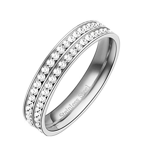 Lavencious Two Row Eternity Stainless Steel Wedding Band 4mm Width Engagement Ring Size 4 to 12 (Silver, 10) ()