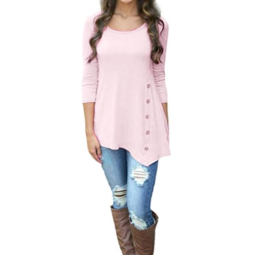 Lightning Deals Tunic Top,ZYooh Women 3/4 Sleeve Loose Button Trim Blouse Solid Color Round Neck Blouse T-Shirt (Pink, M) ()