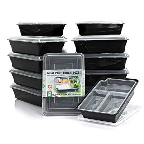 Adorn 20-Set Meal Prep Food Storage Containers, BPA Free Reusable Bento Box, Microwave, Dishwasher, Fridge & Freezer Safe, 20-12 oz. 3 Compartment Inserts, 20-50 oz. Containers, - Fridge Box Bento