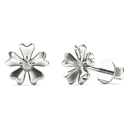 JewelAngel Kids Big Girl's Diamond Accent Flower Stud Earrings (H-I, I1-I2) 10K White Gold by JewelAngel Kids