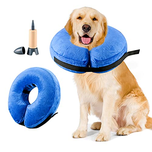 Sanwillco Inflatable Protective Collar for Dog Cone Collar,Soft Recovery Collar for Dog After Surgery,Suitable for Large/Medium/Small Pets,Light,Adjustable Donuts Pillow, Not Block Vision (L, Blue)