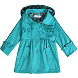 Arshiner Girl Kid Flower Waterproof Hooded Coat Jacket Outwear Raincoat Hoodies Blue,120(Age for 4-5Y)
