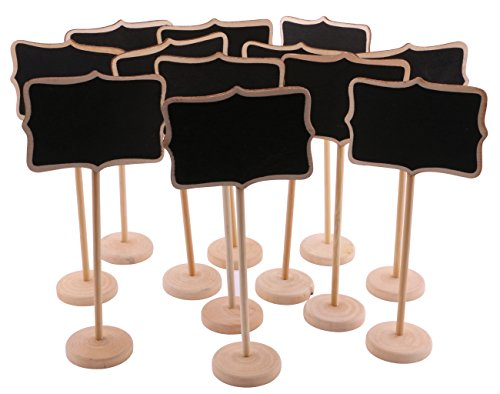 Dedoot Mini Chalkboard Signs, 12pcs Wave-shape Edge Rectangle Wooden Mini Message Signs with Bottom Board Seat Card for Home & Wedding Decoration -