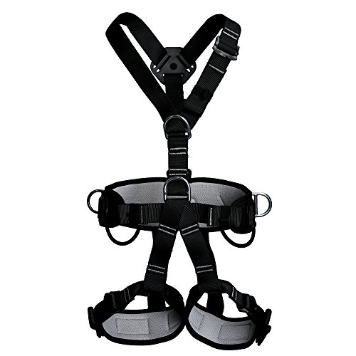 Full Body Adult Safety Harness Outdoor Rock Climbing Momentum Harness for Mountaineering Outward Band Expanding Trainin Caving Rock Climbing Rappelling Equip Black - Gorilla Chalk Bag