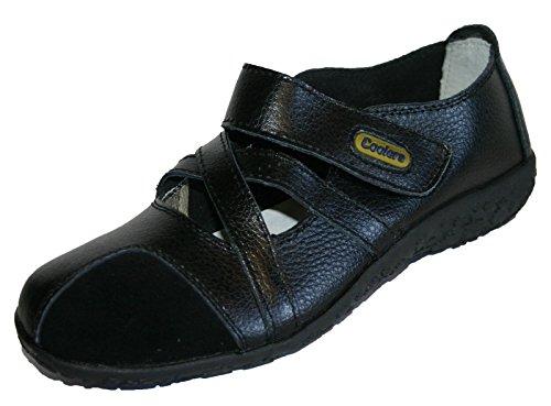 Komfort Skinn Loafer Fremste 4 Sko Sort 8 Kjølere Størrelse Sandaler Damer twAHZZ