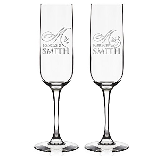 Set of 2 Personalized Wedding Champagne Flutes Wedding Glasses for Bride & Groom | Customized Wedding Favor Mr & Mrs Champagne Flutes Toasting Glasses | FREE Engraving Names&Date #D5