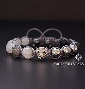 Silver Leopard, Men's Gemstone Beaded Bracelet Gray Macrame Shamballa Bracelet, Rutilated Quartz, Hematite & Snowflake Obsidian Gift for Him Crux Crystals
