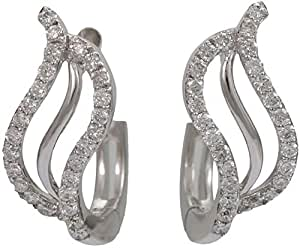 18K White Gold with 52 Pieces 0.26 carat Genuine Diamond Hoop Earrings