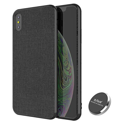 iPhone Xs MAX Magnetic Case,Full-Edge Protection Shock Absorption and Built in Magnet Protective Hard Shell with Textured Fabric Case Slim Fit Shockproof Magnetic Back for iPhone Xs MAX Case (Black) (Iman Fabric)