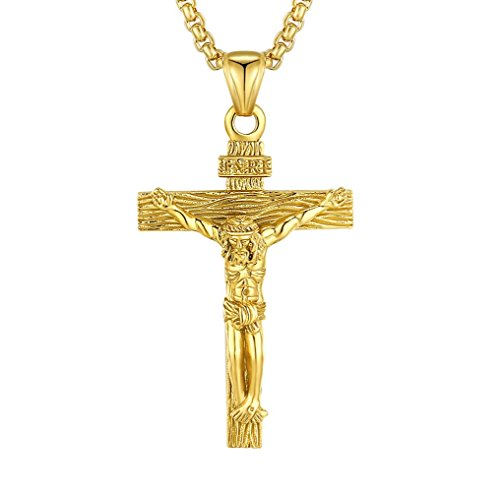 Mens Crucifix Necklace Stainless Steel Jesus Christ Cross Religious Christian Pendant Jewelry for Men Women Christmas Gifts Catholic San Damiano Papal Pardon Benedict for Boys Girls Dad Son ()