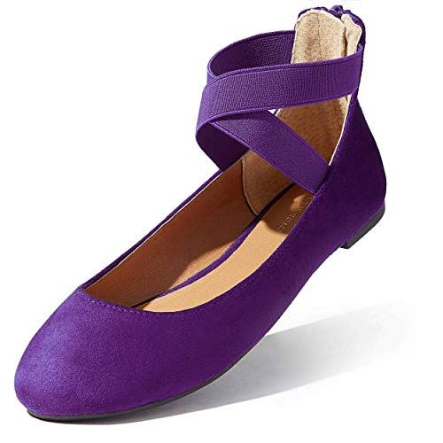 Women Traveling Shoes Womens Lace Up Flats Shoes Ballet Ankle Strap Elastic Sole Summer Fresh Cool Daily Beach Flats Round Toe Slip-on Purple,sv,5.5