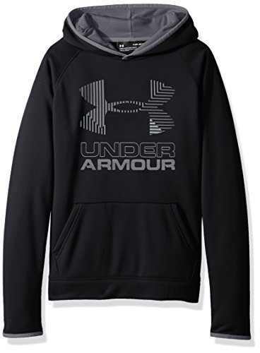 Under Armour Boys Armour Fleece Solid Big Logo Hoodie, Black /Steel, Youth Large