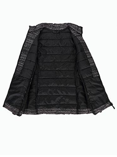 Negro Poco Chaleco Peso Grande Cierre de de Acolchado Talla Hombres Impermeable blanco Frontal qPwxRXaSOO