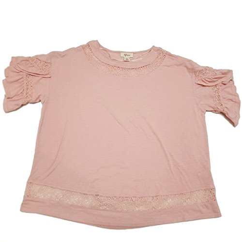 Style CO Lace-Trim Tulip-Sleeve Top Sea Lily (Tulip Sleeve Top)