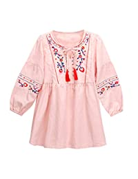 OCEAN-STORE Dresses Toddler Kids Baby Girls Long Sleeve National Style Embroidery Party Princess