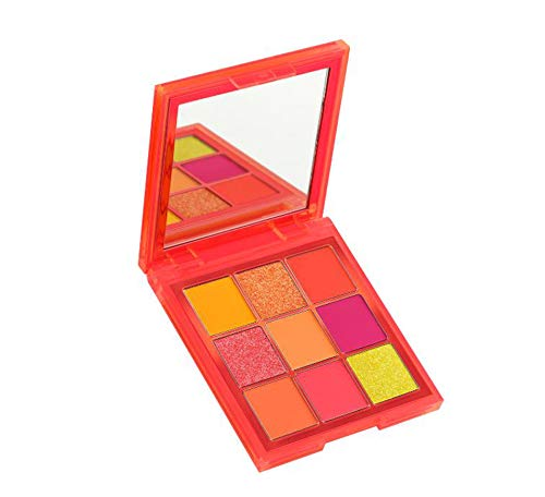 Neon Eyes - Huda Beauty Neon Obsessions Eyeshadow Palette! Highly Pigmented 9 Shades! Mattes, Creamy Metallics And Shimmers Eye Shadow! Smooth And Blendable Texture! Choose From Orange, Pink Or Green! (Orange)
