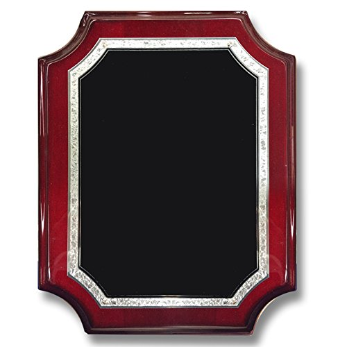 Customizable 8 x 10 Inch Rosewood Piano Finish Plaque with Black Frosted Plate, includes Personalization