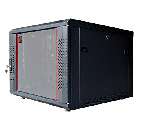 9U Server Rack Cabinet Enclosure. ACCESORIES FREE! Vented Shelf, Cooling Fan, Power Strip. Wall Mount 24'' Deep Fully Loaded Lockable Enclosure Box … by SYSRACKS (Image #1)